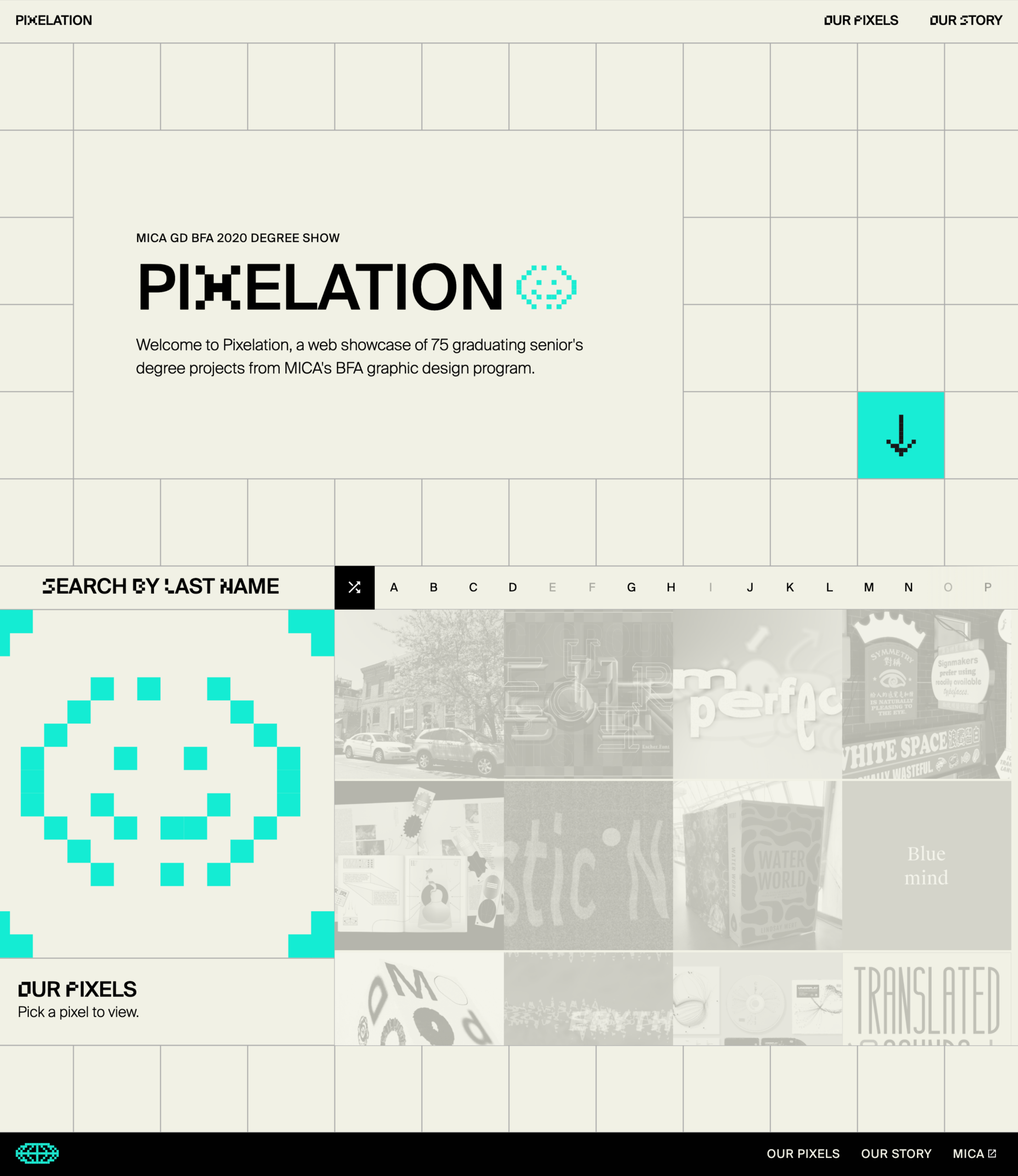 Screeonshot of Pixelation's website